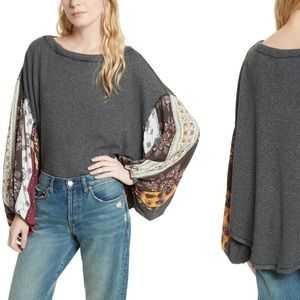 We The Free Blossom Thermal Gray Sweater Top Large